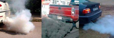 Белый выхлоп из глушителя бензиновый двигатель