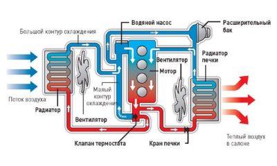 Как циркулирует жидкость в системе охлаждения двигателя?